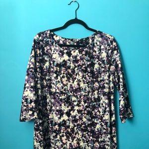 H&M Floral Mini-Dress, 3/4 Sleeves, Size XL.